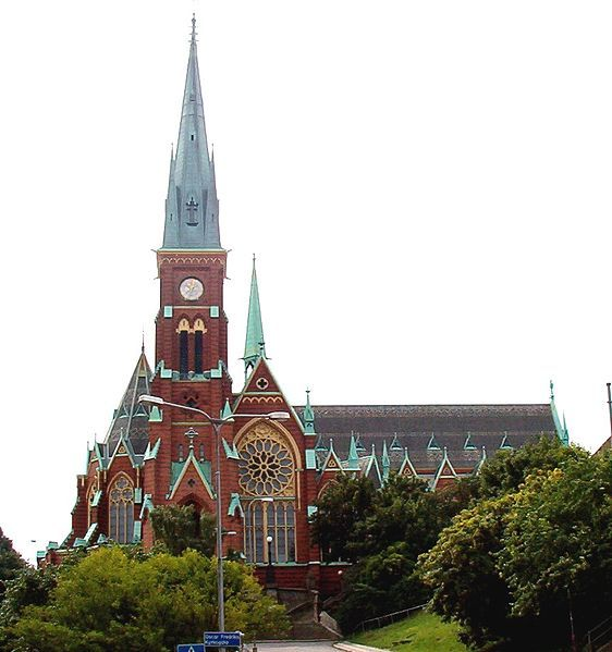 Oscar Fredriks kyrka, Göteborg. From 1893. The name is after king Oscar II who visited it in 1898.