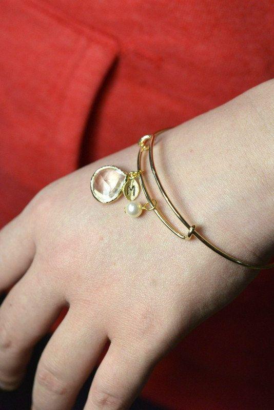 Claro cristal oro damas de honor pendientes por TheMagnoliaJewelry