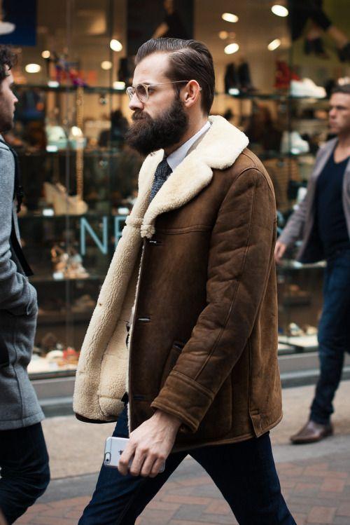 shearling jacket. Men