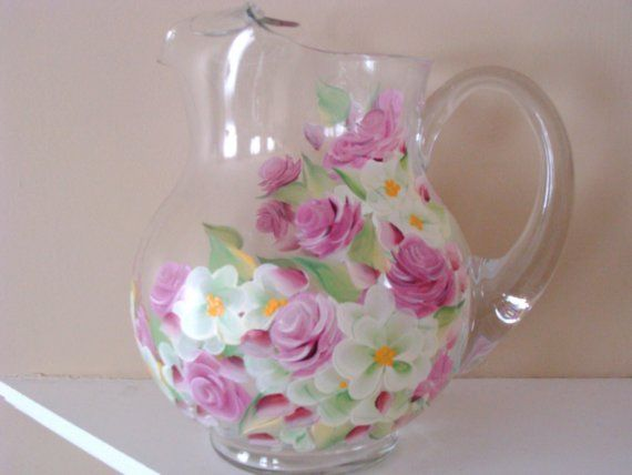 Rose and Blossom Pitcher Hand Painted
