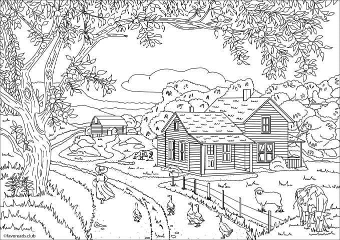 Country Spring A Walk In The Fields Adult Coloring