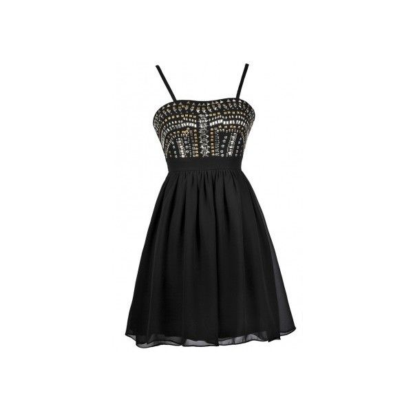 Heavy Metal Stud Embellished Dress in Black ❤ liked on Polyvore featuring dresses, heavy metal dresses, studded dress, embelished dress, night out dresses and going out dresses