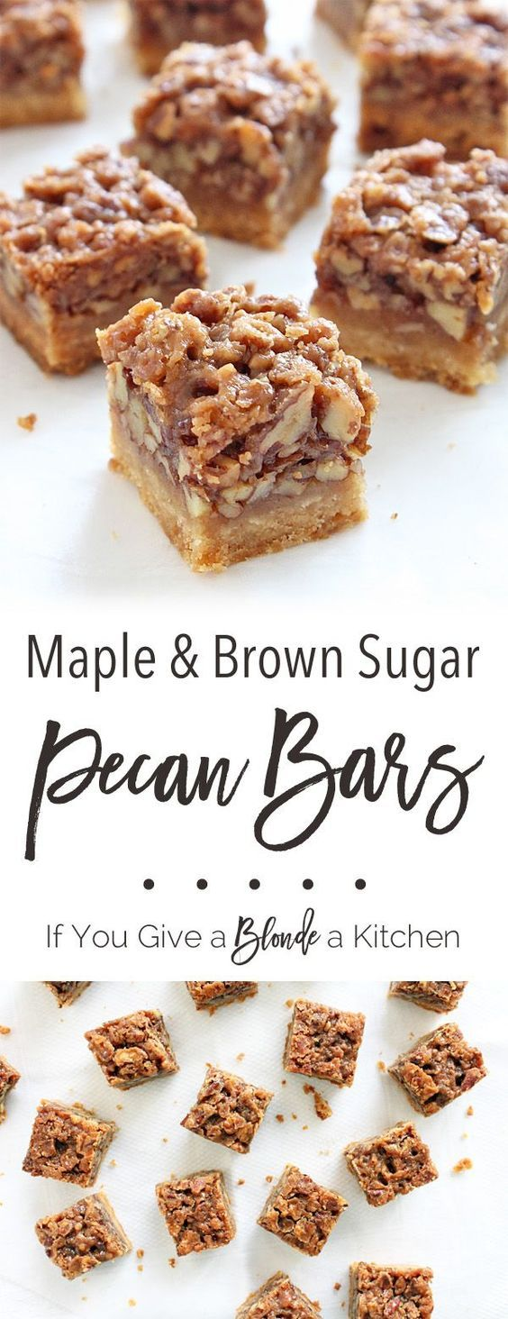 These maple pecan bars have a flaky, sweet crust contrasted by a maple-coated, crunchy pecan filling. Tastes just like pie! | /haleydwilliams/