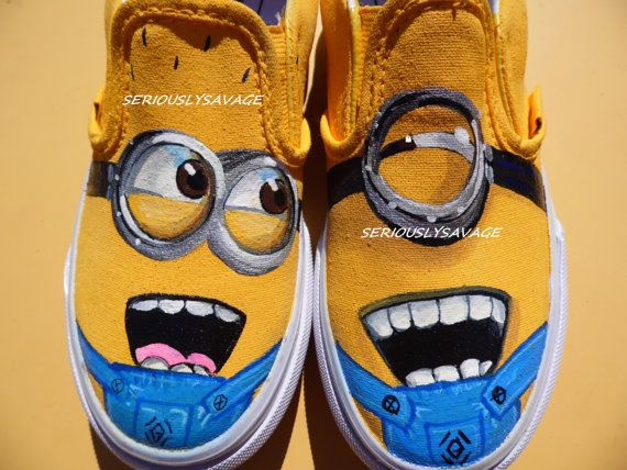 Items similar to SALE Minion Agnes and Unicorn Custom Painted Shoes. Wearable Art. ANY SIZE on Etsy