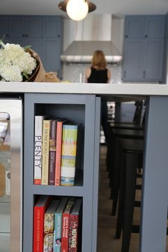 Danalda Residence - transitional - spaces - los angeles - Von Fitz Design:  End of island for books and they do a fridge--I would do shelving for toaster oven, big stock pot, etc.