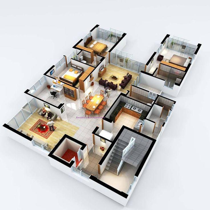 3 Bedroom Suite 3d Floor Plans Pinterest Bedrooms