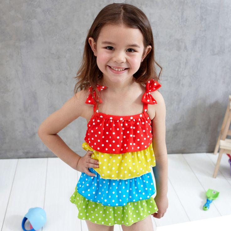 Skirt Rainbow splice Dot Swimwear For Girls Swimming Clothes Child Bathing Dress Swimsuit Kids Little Girls Swimwear