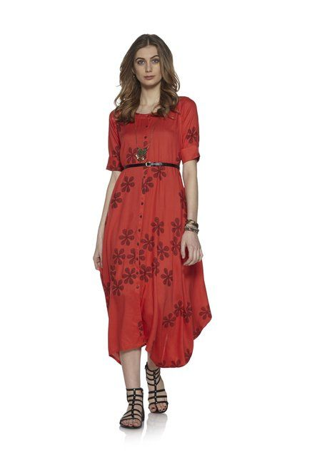 a794f471d68 Bombay Paisley by Westside Coral Floral Dress With Belt | Dresses ...