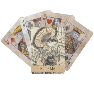 Ishikawa Toyonobu Young Lady with Parasol Bicycle Card Deck #japanese #vintage #customizable #oriental #gifts on #Zazzle #japan #lady #girly #geisha #kimono #ukiyo-e #art