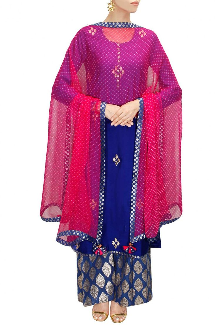 AMRITA THAKUR Royal blue and pink gota patti work kurta set