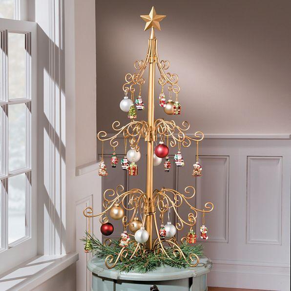 Ornament Tree Medium 3 Scroll Tree In Black Or Gold Ornament