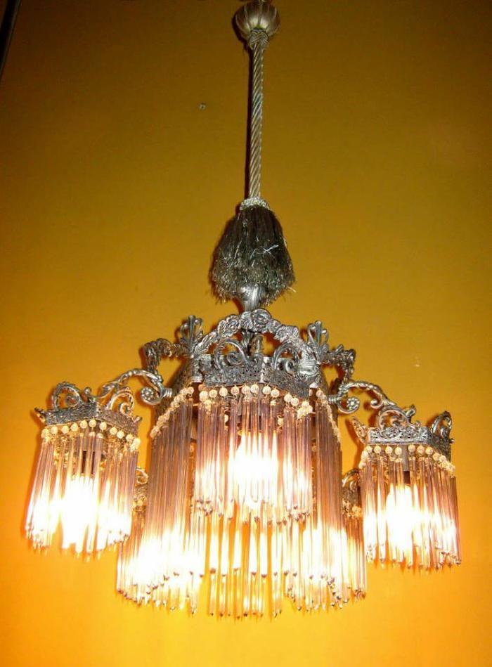 Art Nouveau nickel bronze chandelier with hand blown glass rods