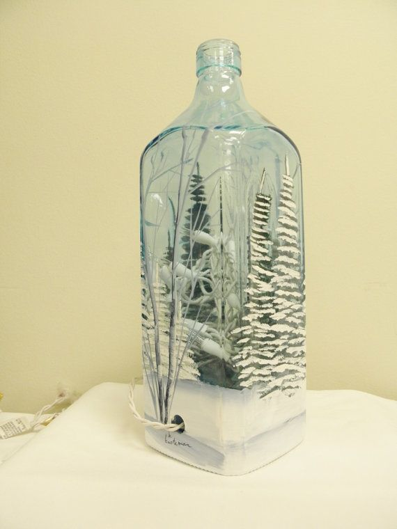 Winter Wine Bottle Light-Blue Glass-Square by bestemancreations. You could do this with any bottle
