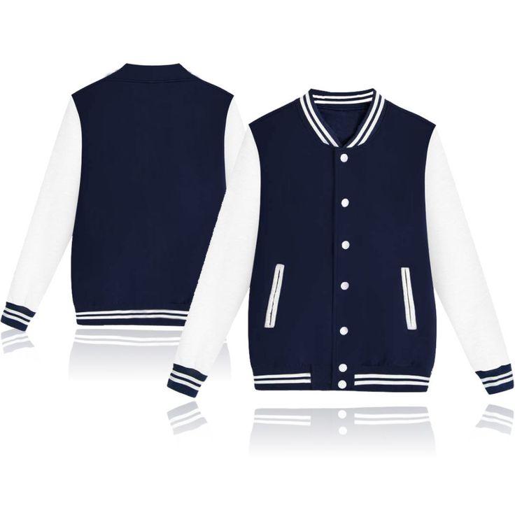 Winter Baseball Jacket Men Sweatshirt College Sportswear Fleece Jackets Casual Slim Fit Jacket Mens