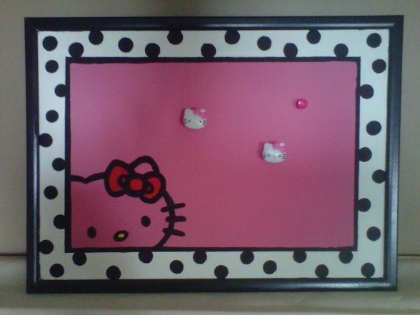 Hello Kitty Painted Cork Board For Girls Room Dorm Room Home Decor Decorating
