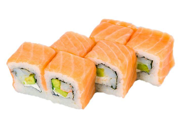 Филадельфия  Норвежский лосось, сыр «Филадельфия», креветки, авокадо, зеленый лук Вес: 220 г 330.00 руб.