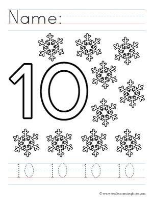 Free Writing Number 10 Ten Worksheet Printable Teacher