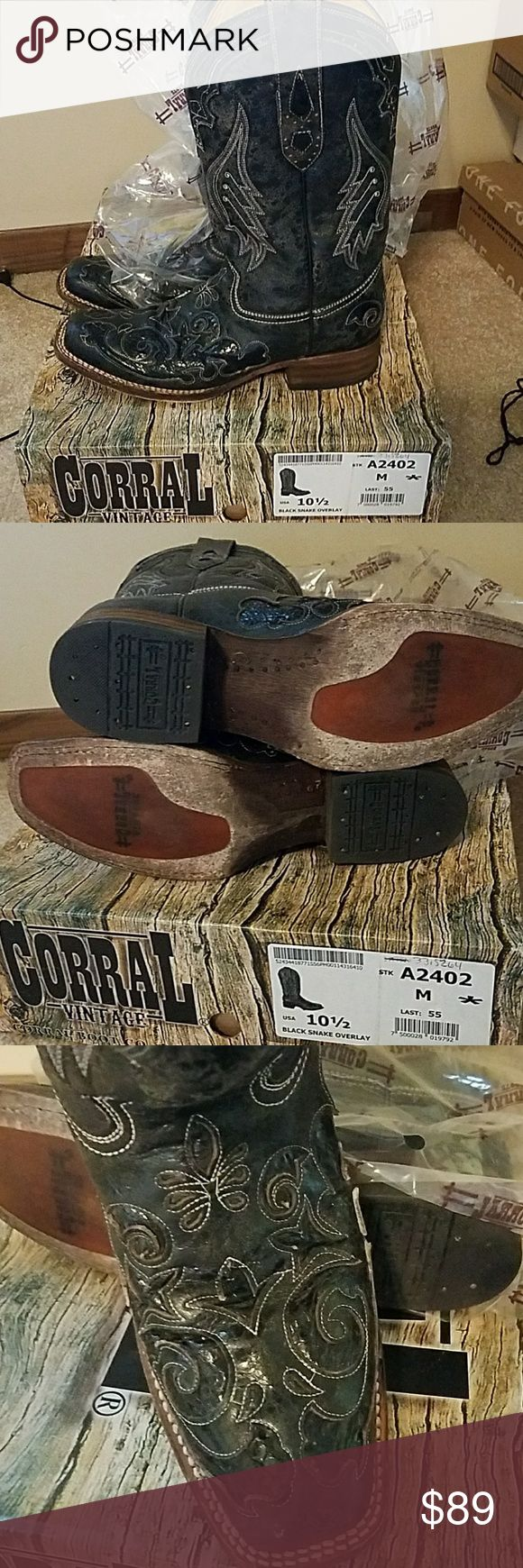 Corral Vintage Boots Corral Vintage Boot Co. Black Snake Overlay boots in size 10.5. Worn 3 times and stored in the box,  with the  plastic on them. Corral Boot Co. Shoes Heeled Boots