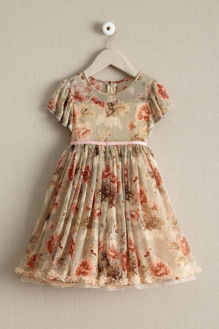 Girls Antique Floral Dress: #Chasingfireflies $174.00