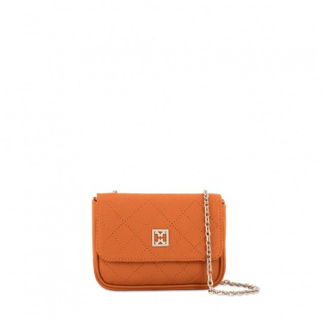 """MINI BAG IN LEATHER   """"""""If you like to be organised when you have fun, you'll want to have a simple bag to hold all your going-out essentials: wallet, phone, lip balm, etc. This shoulder bag is the perfect solution - it keeps your items safe and doesn't get in your way whilst having fun! Plus, the bright orange colour adds extra happiness to your day!"""" - Sunny, LOVESPACE's Marketing Team."""