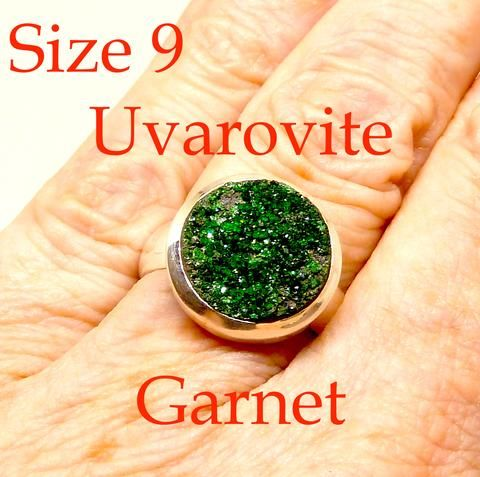 Uvarovite Cluster Ring | 925 Sterling Silver | Rare example of bright green Garnet | Nice Crystals | US Size 9 | Crystal Heart Melbourne Australia since 1986