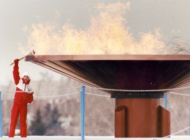 Robyn Perry lights the Olympic cauldron during the opening ceremonies at McMahon Stadium for the Calgary Winter Olympics on February 14, 1988; the beginning of many great accomplishments by Canadian athletes. http://www.calgaryherald.com/