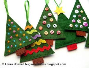 Hand sewn Christmas Tree Ornaments– Here's one that's perfect to make with children!  All hand sewn with a great tutorial to follow.