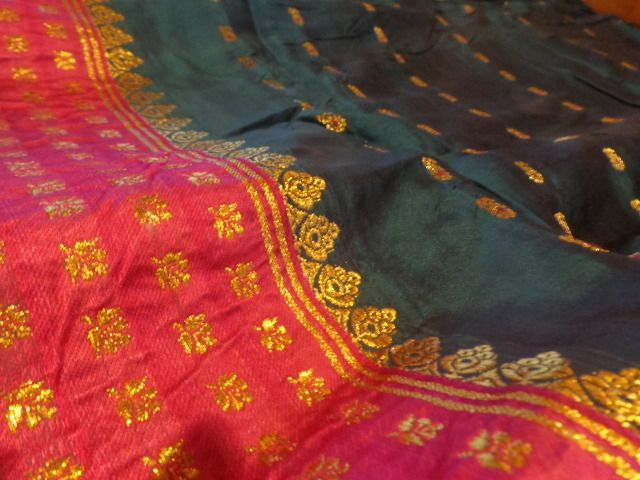 TISSU SARI INDE SOIE COTON SILK COTON SECOND HAND SAREE INDIA