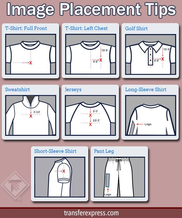 "Great tips for where to place your screen printed, digital, or rhinestone image designs to customize your apparel. When on site, click on ""Placement Tips"" tab. Learn more at TransferExpress.com"