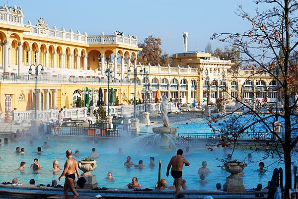 Budapest - the thermal baths here was one of my favourite things in Europe. 43 degrees in the water, -5 degrees out. Sipping schnapps and playing chess all around.