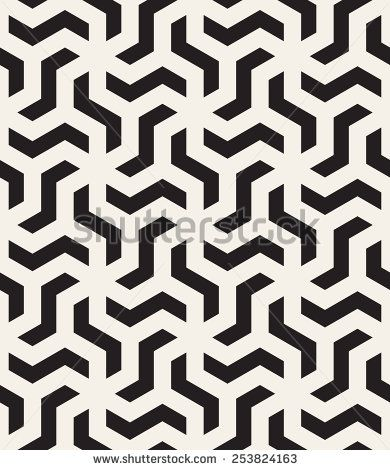 Vector seamless pattern. Modern stylish monochrome texture. Repeating abstract background with twisted polygonal elements. Black and white geometric tiles