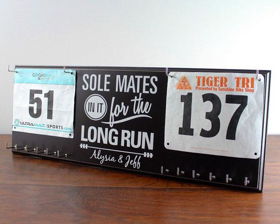 Couples Gift for Runners - Race Bib and Medal Display with his and hers bib and medal holders -  Sole Mates in it for the Long Run