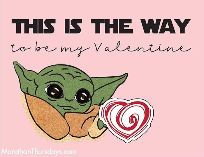 Free Baby Yoda Valentine Printable Starwars Themandalorian Valentinesday Babyyoda Thechild Valentines Printables Nerd Valentine Yoda Valentine Cards
