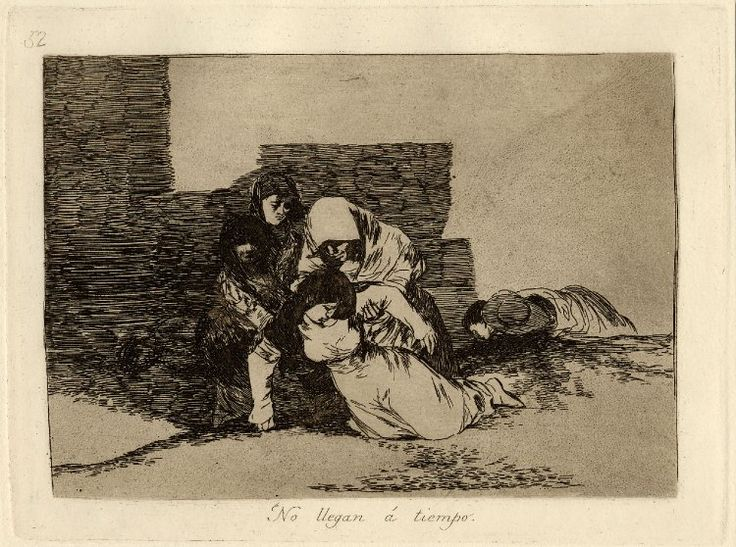 """Image gallery: No llegan á tiempo (They do not arrive in time) / Los Desastres de la Guerra (The Disasters of War) - Plate 52: woman collapsed dead(?), held by another three; from an unbound album of working proofs, presented by the artist to Ceán Bermúdez. 1812-15 Etching, lavis, drypoint and burin with some surface tone, printed on paper with watermark """"J.G.O."""" and shell"""