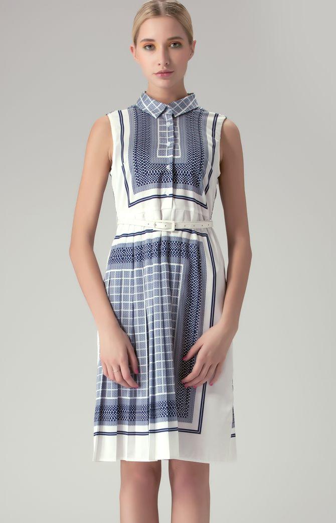 Navy Sleeveless Geometric Check Print Shirt Dress $63.44