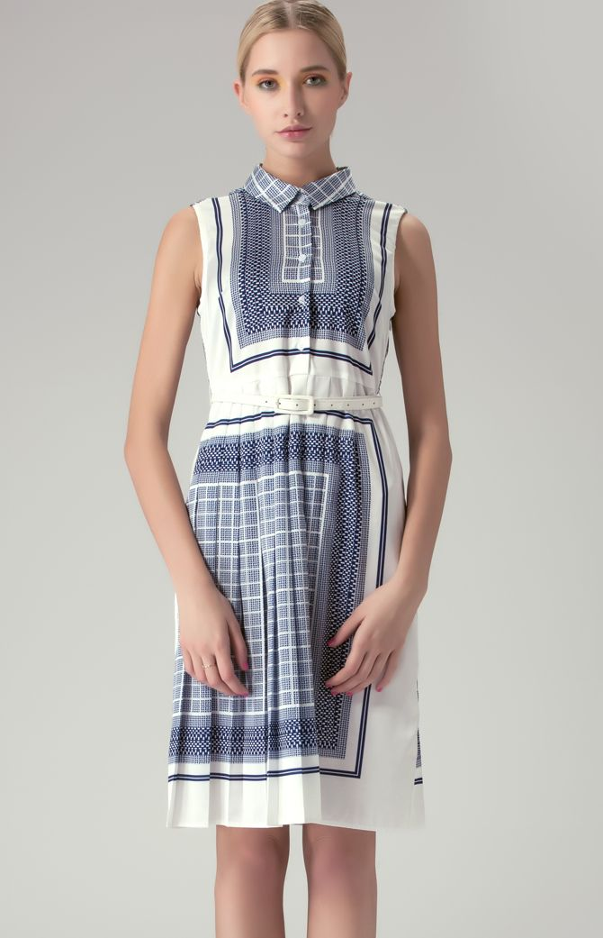 Navy Sleeveless Geometric Check Print Shirt Dress