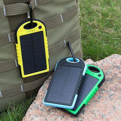 Dual-USB Waterproof Solar Power Bank Battery Charger fr Cell Phone ABE 5000mah