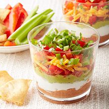 Mini Mexican Layer Dips (use endive leaves in place of tortilla chips to scoop dip).