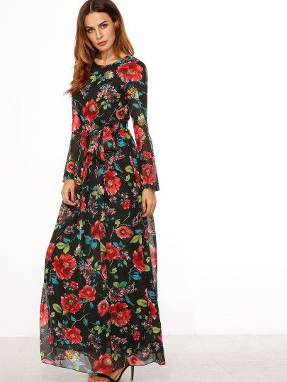 Self-Tie Rose Print Long Sleeve Chiffon Dress - Black