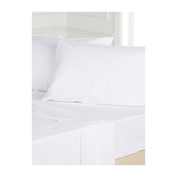 Simons Maison Essential cotton sheet, 230 thread count  Fits... ($7.50) ❤ liked on Polyvore featuring home, bed & bath, bedding, bed sheets, white bedding, white bed linen, cotton bed linen, king size bedding and white king bedding