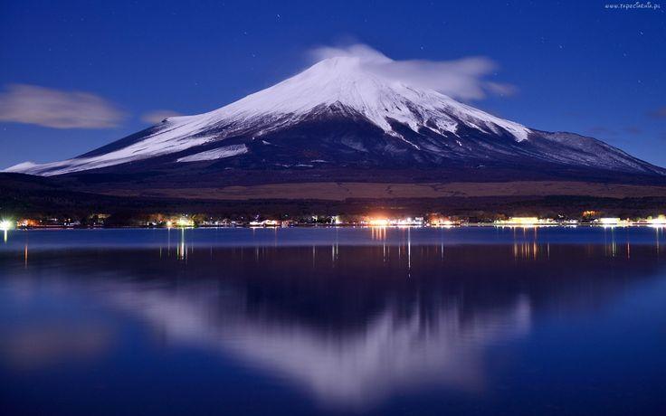 Góra, Fuji, Japonia, Jezioro, Noc