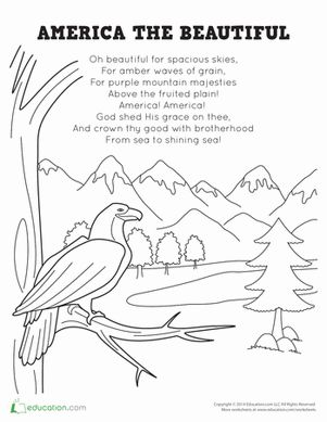 July 4th/Independence Day Preschool Places Worksheets: America the Beautiful Lyrics