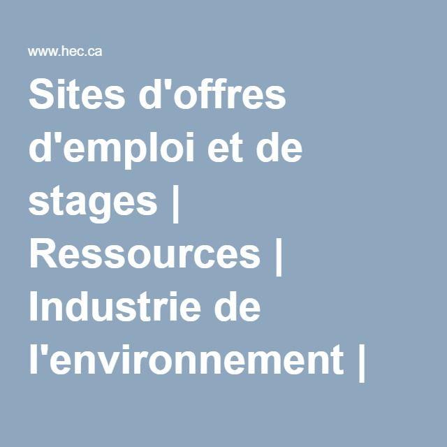 Sites d'offres d'emploi et de stages | Ressources | Industrie de l'environnement | Direction du développement durable |