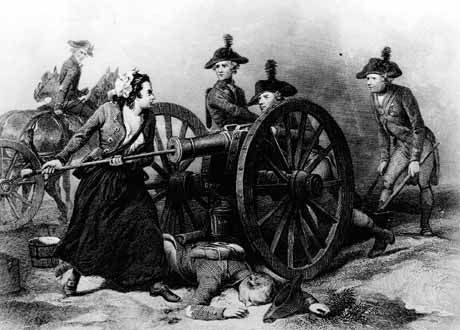 The Battle of Monmouth, NJ - Molly Pitcher loading her husband's cannon during the Battle of Monmouth
