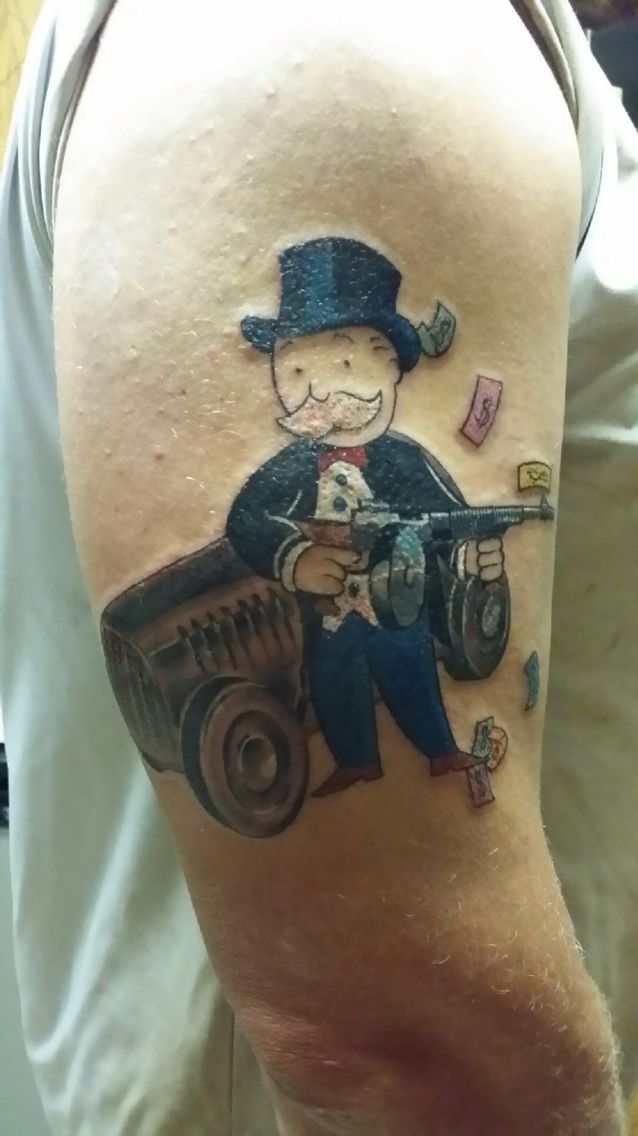 monopoly man tommy gun tattoo start to a half sleeve life pinterest half sleeves. Black Bedroom Furniture Sets. Home Design Ideas