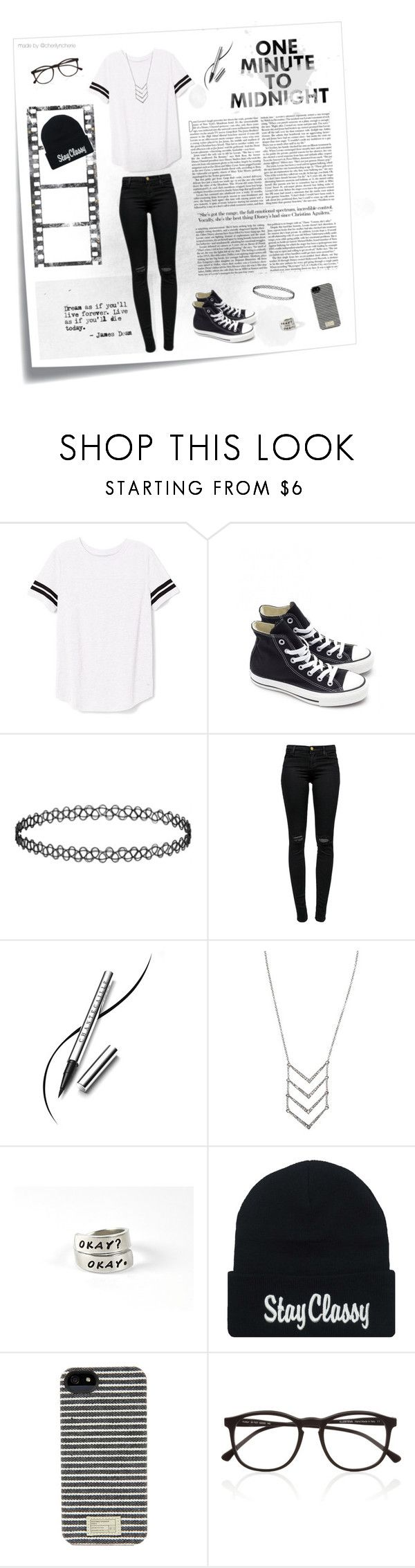 """""""One Minute To Midnight"""" by cherilyncherie ❤ liked on Polyvore featuring Post-It, Victoria's Secret PINK, Converse, Topshop, J Brand, Chantecaille, HEX and Illesteva"""