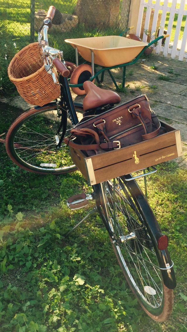 Vintage Classic Bike with Gotham cargo wood box and Brown Prada Bag