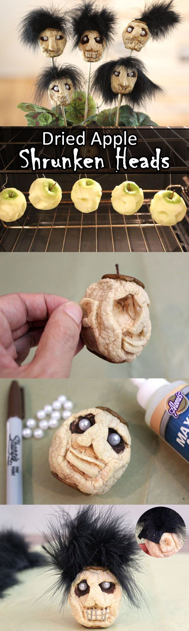 Dried Apple Shrunken Heads for Halloween! Hang and dry them in the oven and start decorating after they've cooled.