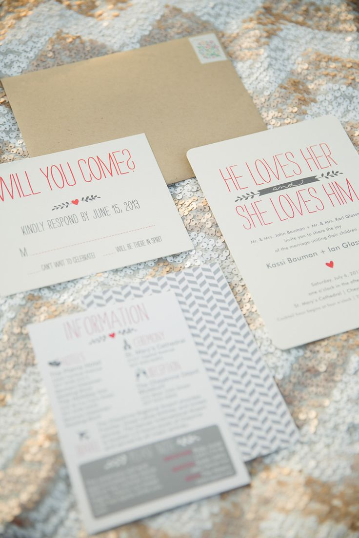 """He loves her"" invite suite. Minted. Photography: Luke And Cat Photography - lukeandcat.com  Read More: http://www.stylemepretty.com/wyoming-weddings/cheyenne/2014/01/02/cheyenne-depot-museum-wedding/"
