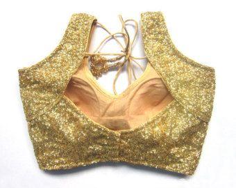 Golden Sequins Blouse with sleeves - Sari Blouse - Saree Blouse - Sari Top - For…